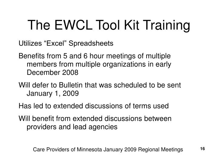 The EWCL Tool Kit Training