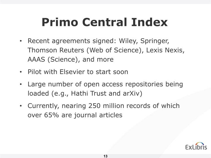 Primo Central Index