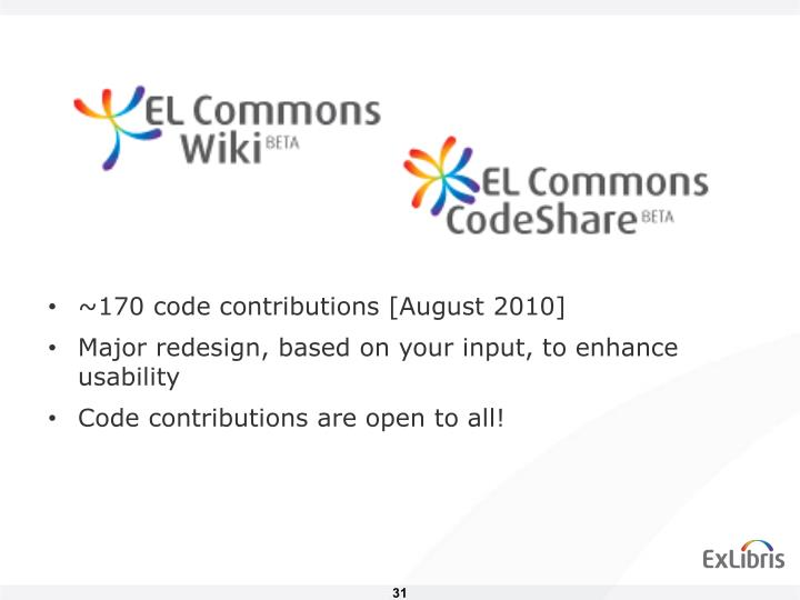 ~170 code contributions [August 2010]