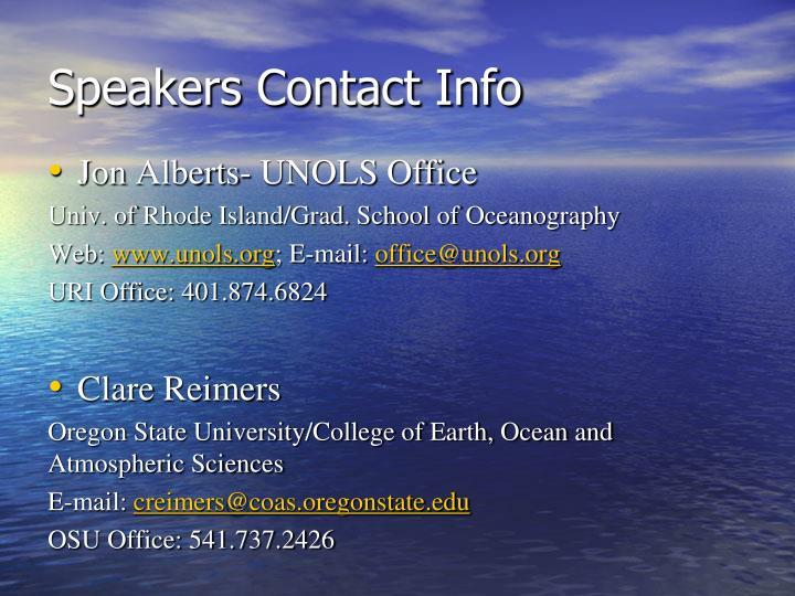 Speakers Contact Info