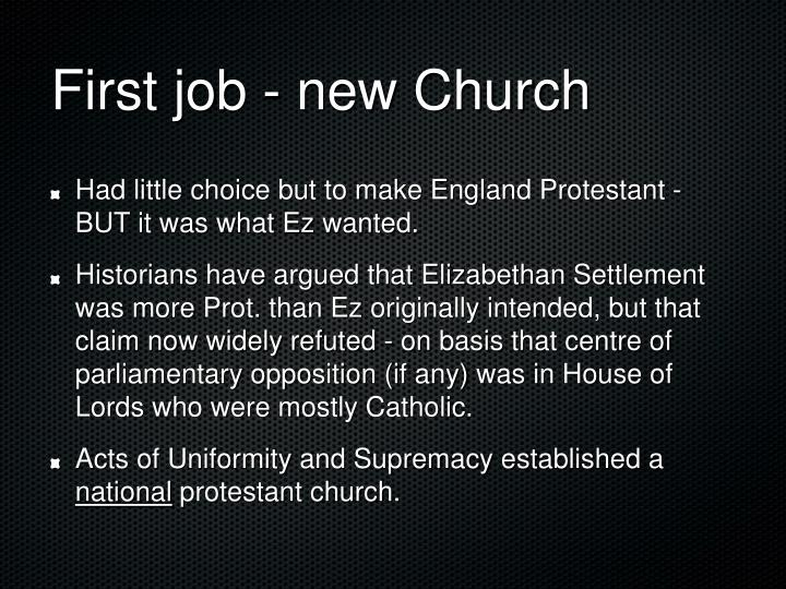 First job - new Church