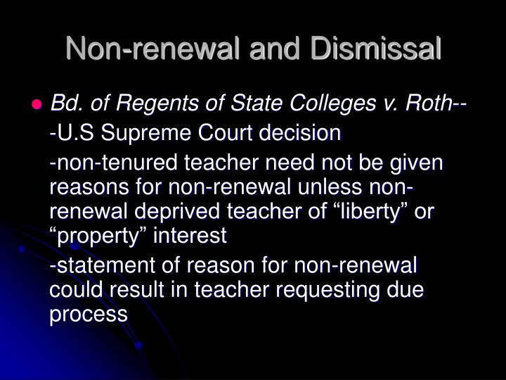Non renewal and dismissal