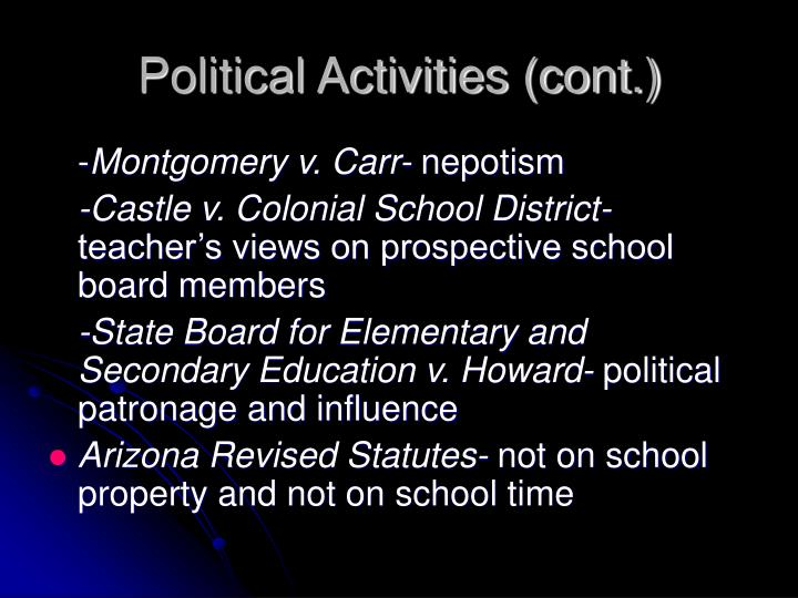 Political Activities (cont.)