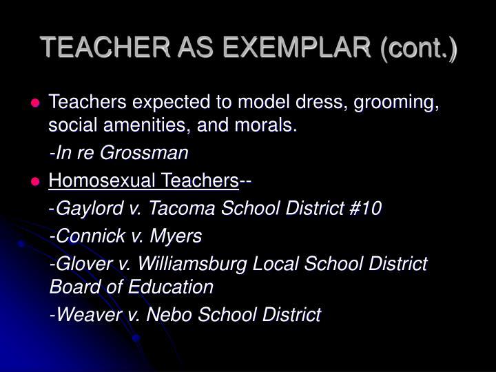 TEACHER AS EXEMPLAR (cont.)
