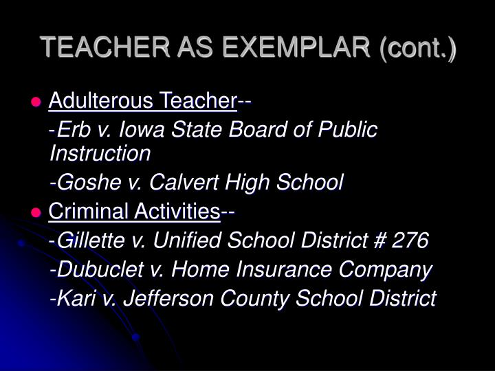TEACHER AS EXEMPLAR (cont.)