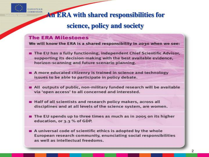An ERA with shared responsibilities for