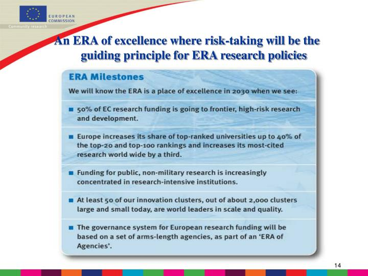An ERA of excellence where risk-taking will be the guiding principle for ERA research policies