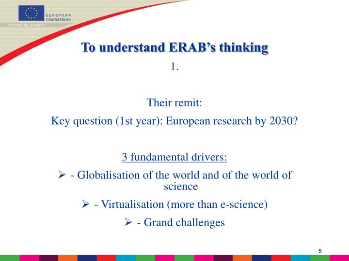 To understand ERAB's thinking