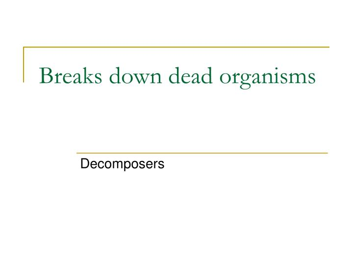 Breaks down dead organisms