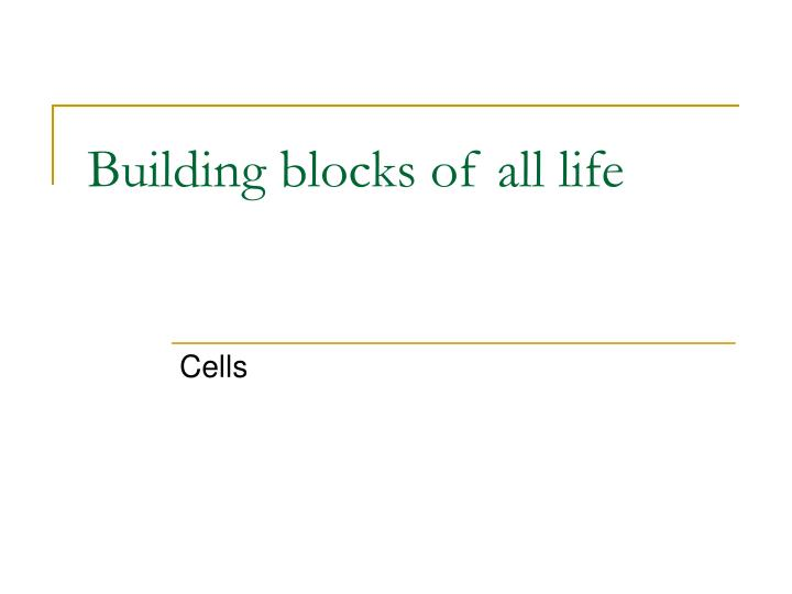 Building blocks of all life