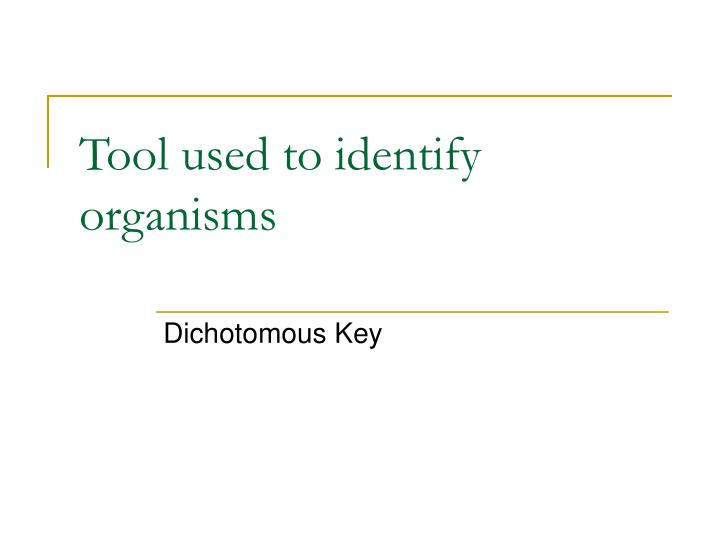 Tool used to identify organisms