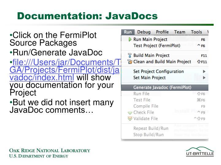 Documentation: JavaDocs