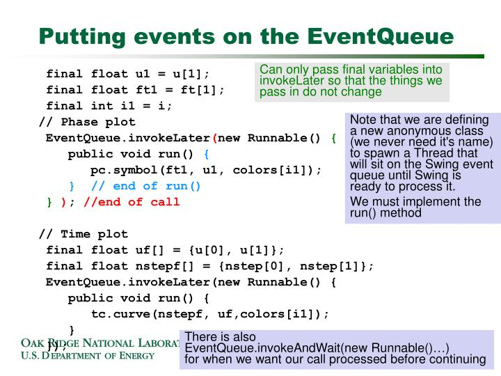 Putting events on the EventQueue