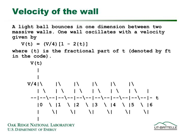Velocity of the wall