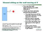 viewed sitting on the wall moving at v2