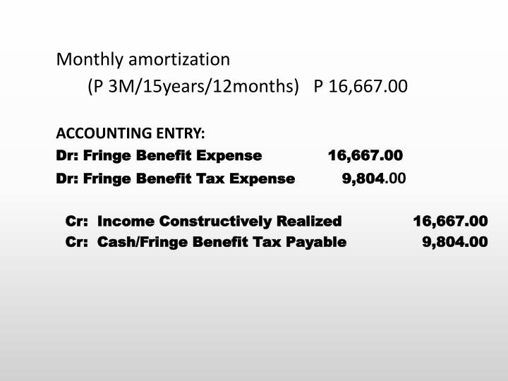 Monthly amortization