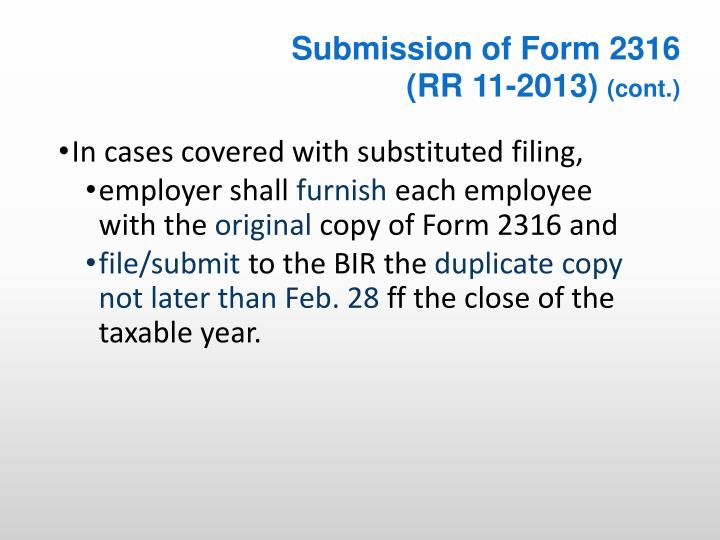Submission of Form 2316