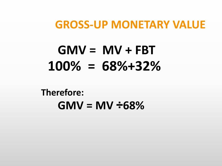 GROSS-UP MONETARY VALUE