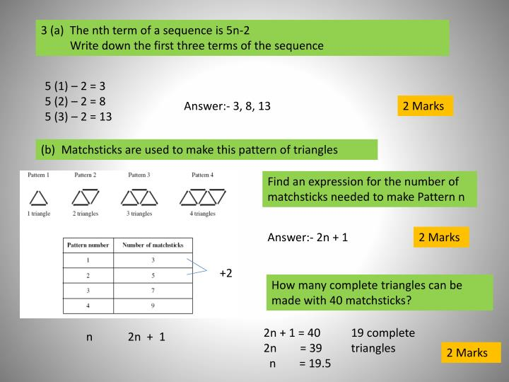 3 (a)  The nth term of a sequence is 5n-2