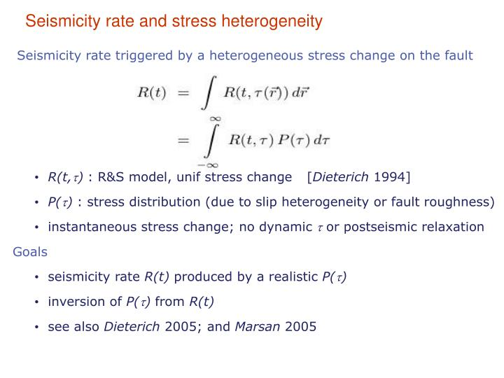 Seismicity rate and stress heterogeneity
