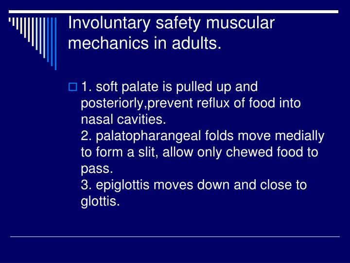 Involuntary safety muscular mechanics in adults.