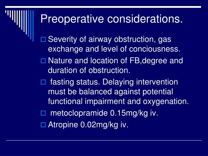 Preoperative considerations.