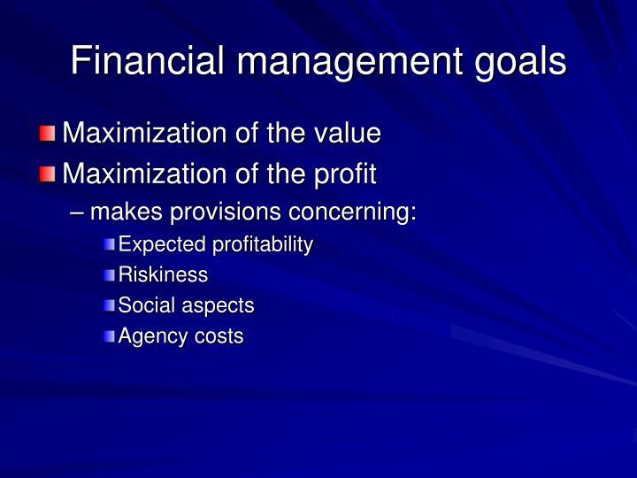 Financial management goals