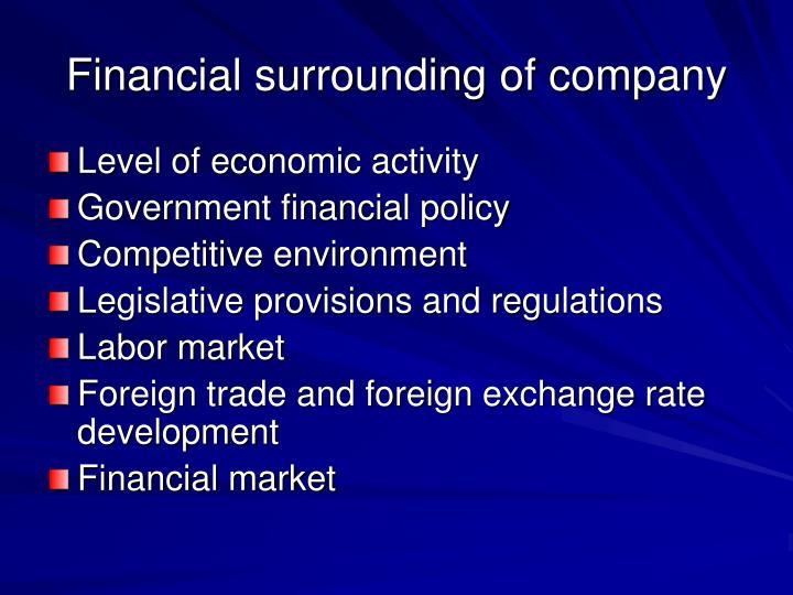 Financial surrounding of company