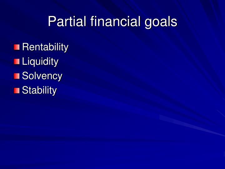 Partial financial goals