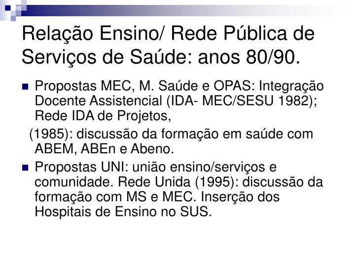 Relação Ensino/ Rede Pública de Serviços de Saúde: anos 80/90.