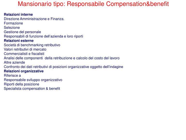 Mansionario tipo: Responsabile Compensation&benefit