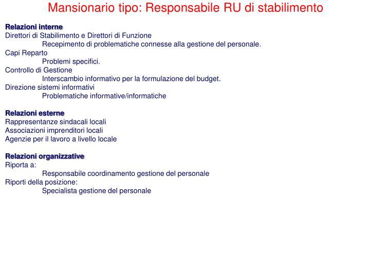 Mansionario tipo: Responsabile RU di stabilimento
