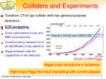 colliders and experiments