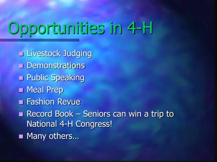 Opportunities in 4-H