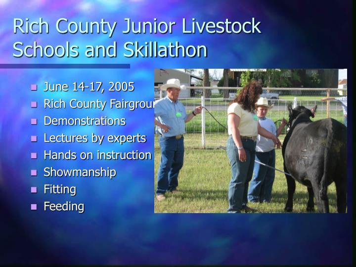 Rich County Junior Livestock Schools and Skillathon