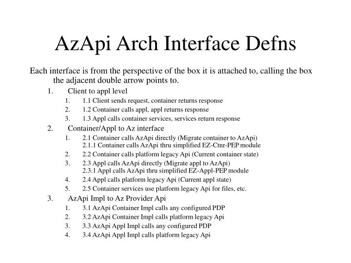 AzApi Arch Interface Defns