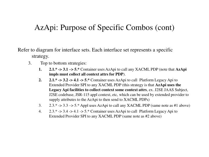 AzApi: Purpose of Specific Combos (cont)