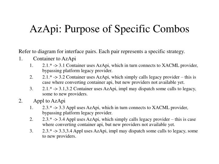 AzApi: Purpose of Specific Combos