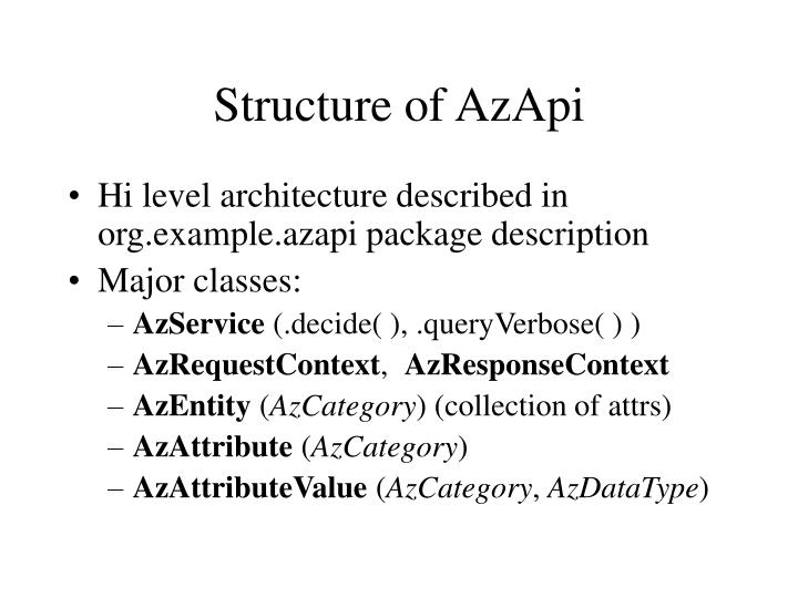 Structure of AzApi