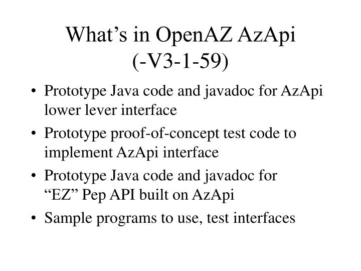 What's in OpenAZ AzApi