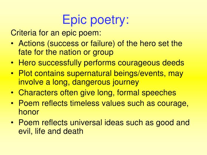 Epic poetry: