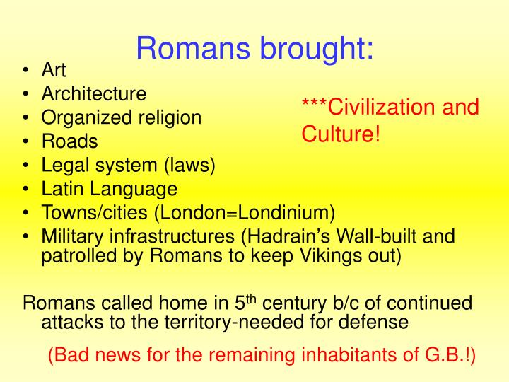 Romans brought: