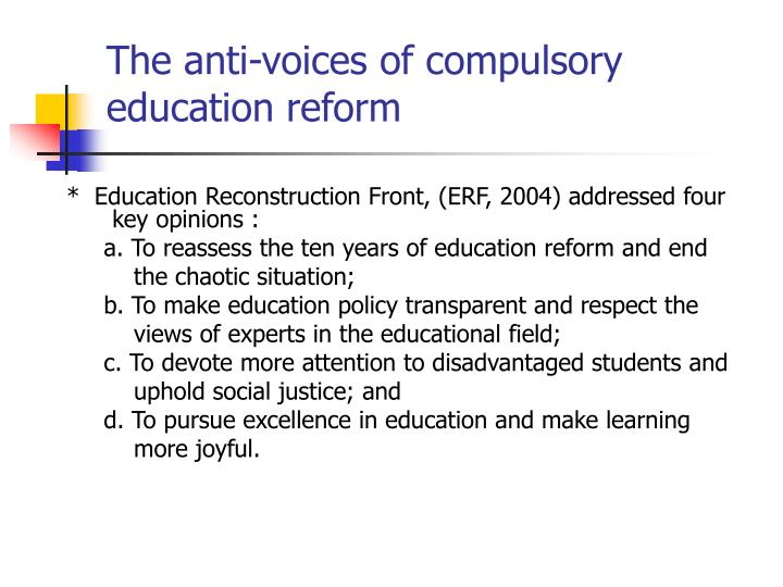 The anti-voices of compulsory education reform