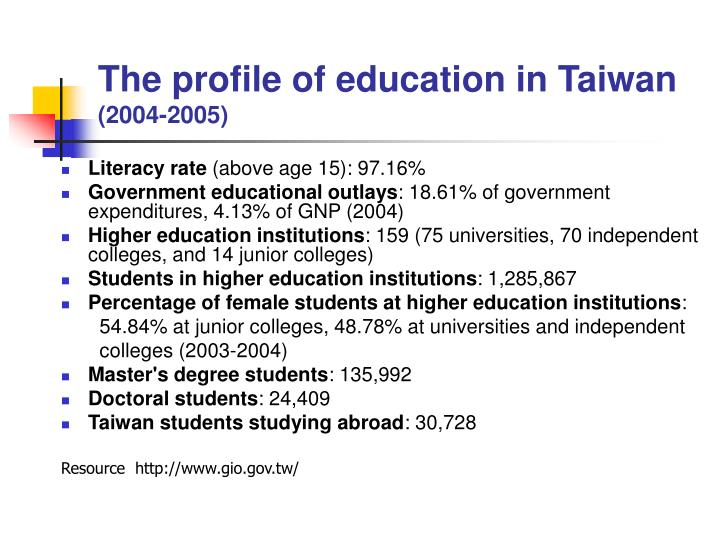 The profile of education in Taiwan