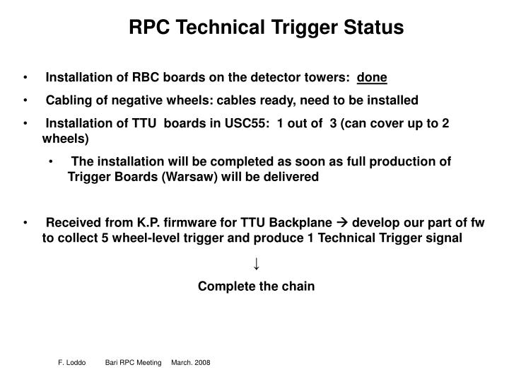 Rpc technical trigger status