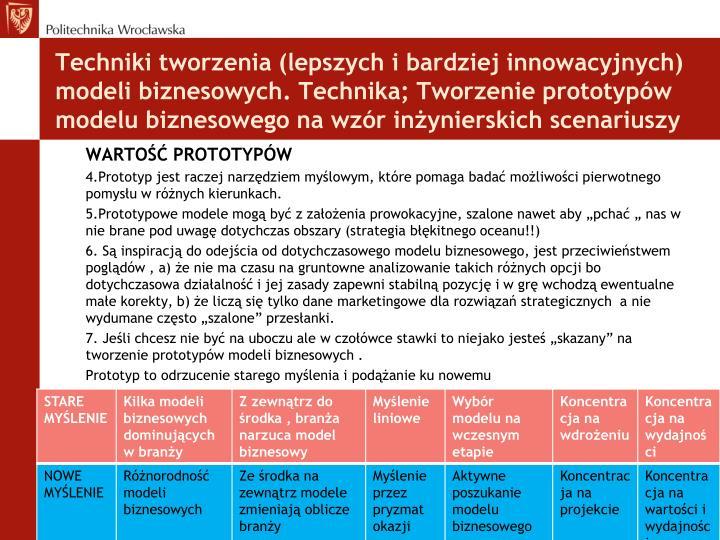 Techniki tworzenia (lepszych i bardziej innowacyjnych) modeli biznesowych. Technika; Tworzenie prototypów modelu biznesowego na wzór inżynierskich scenariuszy