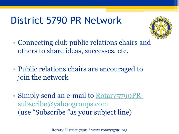 District 5790 PR Network