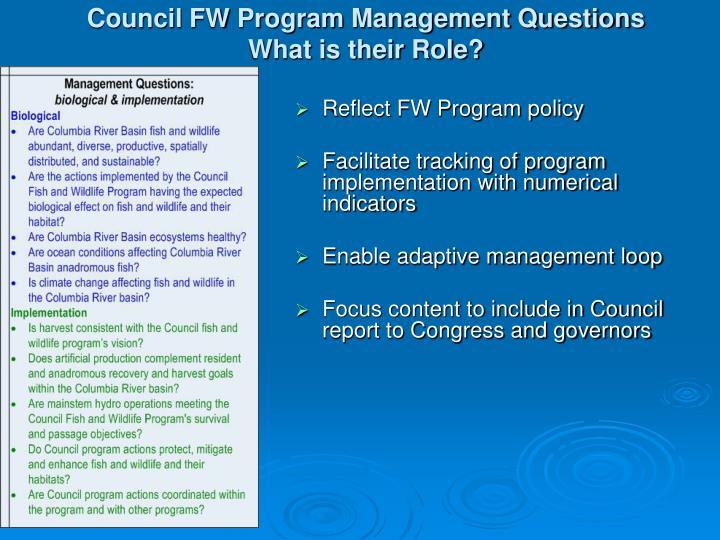 Council FW Program Management Questions
