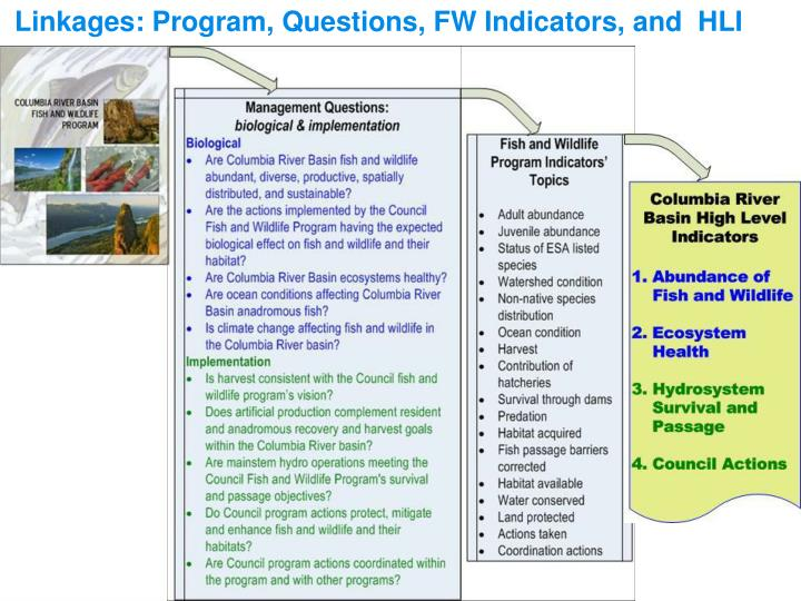 Linkages: Program, Questions, FW Indicators, and  HLI