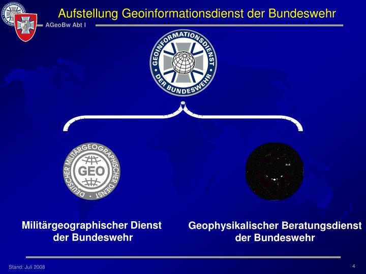 Aufstellung Geoinformationsdienst der Bundeswehr